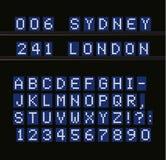 Geleid vectoralfabet Digitale eindlijst witte brieven op blauwe achtergrond Luchthaven, zeehaven, station en stock illustratie