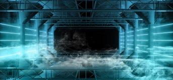 Geleide de Laser Blauwe Gloeiende Donkere Lichte Lijnen van FI van rook Vreemde Sc.i Neon in Futuristische Moderne van de Tunnelg royalty-vrije stock afbeeldingen