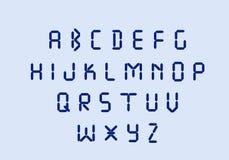 Geleide digitale alfabet blauwe elektronische brieven stock illustratie