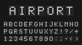 Geleide digitale doopvont, letters en getallen Engels alfabet in digitale het schermstijl Geleid digitaal raadsconcept voor lucht stock afbeeldingen