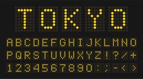 Geleide digitale doopvont, letters en getallen Engels alfabet in digitale het schermstijl Geleid digitaal raadsconcept voor lucht royalty-vrije stock fotografie