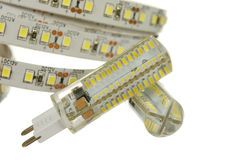 Geleide streep en lampen Stock Foto's