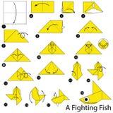 Geleidelijke instructies hoe te om origami het Vechten te maken Stock Foto's