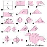 Geleidelijke instructies hoe te om tot origami een Ballon met Vleugels te maken Stock Foto