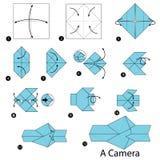 Geleidelijke instructies hoe te om tot origami een Camera te maken Stock Afbeelding