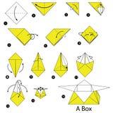 Geleidelijke instructies hoe te om tot origami een Doos te maken Royalty-vrije Stock Afbeeldingen