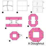 Geleidelijke instructies hoe te om tot origami een Doughnut te maken Stock Afbeelding