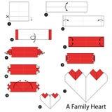 Geleidelijke instructies hoe te om tot origami een Familiehart te maken Royalty-vrije Stock Fotografie