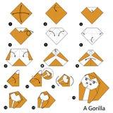 Geleidelijke instructies hoe te om tot origami een Gorilla te maken Stock Fotografie