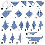 Geleidelijke instructies hoe te om tot origami een Haai te maken Stock Foto