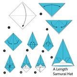 Geleidelijke instructies hoe te om tot origami een Hoed van Lengtesamoeraien te maken Royalty-vrije Stock Fotografie