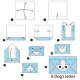 Geleidelijke instructies hoe te om tot origami een Hondbrief te maken Stock Afbeeldingen