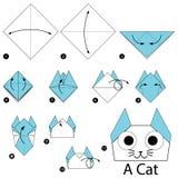 Geleidelijke instructies hoe te om tot origami een Kat te maken Royalty-vrije Stock Foto's
