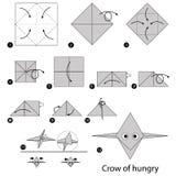 Geleidelijke instructies hoe te om tot origami een Kraai van hongerig te maken Royalty-vrije Stock Foto