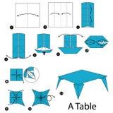Geleidelijke instructies hoe te om tot origami een Lijst te maken Stock Foto's