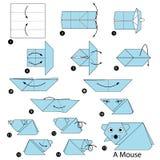 Geleidelijke instructies hoe te om tot origami een Muis te maken Royalty-vrije Stock Afbeeldingen