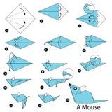 Geleidelijke instructies hoe te om tot origami een Muis te maken Stock Afbeeldingen