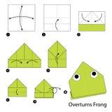 Geleidelijke instructies hoe te om tot origami een Omverwerpingenkikker te maken Royalty-vrije Stock Afbeeldingen