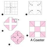 Geleidelijke instructies hoe te om tot origami een Onderlegger voor glazen te maken Stock Afbeelding