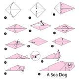 Geleidelijke instructies hoe te om tot origami een Overzeese Hond te maken Stock Fotografie