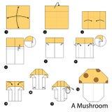Geleidelijke instructies hoe te om tot origami een Paddestoel te maken Stock Foto