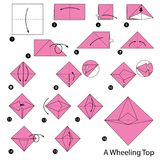 Geleidelijke instructies hoe te om tot origami een Rijdende Bovenkant te maken Stock Fotografie
