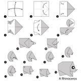 Geleidelijke instructies hoe te om tot origami een Rinoceros te maken Stock Afbeeldingen