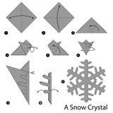 Geleidelijke instructies hoe te om tot origami een Sneeuwkristal te maken Stock Afbeeldingen