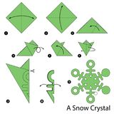 Geleidelijke instructies hoe te om tot origami een Sneeuwkristal te maken Royalty-vrije Stock Fotografie