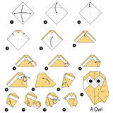 Geleidelijke instructies hoe te om tot origami een Uil te maken Royalty-vrije Stock Afbeeldingen