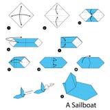 Geleidelijke instructies hoe te om tot origami een Zeilboot te maken Stock Foto's