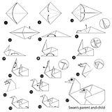 Geleidelijke instructies hoe te om tot origami een een Zwaanouder en Kind te maken Stock Afbeeldingen