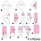 Geleidelijke instructies hoe te om tot origami Lolly Pop te maken Royalty-vrije Stock Afbeelding