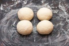 Geleidelijke voorbereiding van brood Franse baguette Het Koken van het brood collage Stock Afbeelding