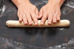 Geleidelijke voorbereiding van brood Franse baguette Het Koken van het brood collage Royalty-vrije Stock Foto