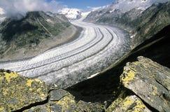 Geleira de Aletsch, a geleira a maior nos cumes, Swizerland imagem de stock royalty free