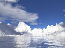 Geleiras de Alaska com reflexão da água Foto de Stock Royalty Free