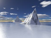 Geleiras de Alaska com reflexão da água Fotografia de Stock Royalty Free