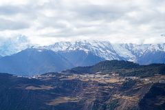Geleiras de Mingyong da montanha da neve de Meili Fotos de Stock