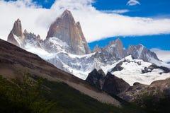 Geleiras e montanhas Fitz Roy, Cerro Torre Fotos de Stock