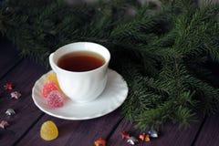 Geleisnoepje, aromafruit, suikergoeddessert en thee Royalty-vrije Stock Foto