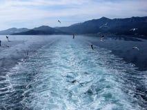 geleitschutz Abfahrt von der Insel Thassos, Griechenland Lizenzfreie Stockbilder