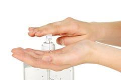 gelen hands sanitizeren Arkivbild