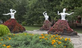 Sculptural group `Flower Brides` on the embankment of the city of the resort of Gelendzhik. Gelendzhik, Krasnodar region, Russia - July 16, 2015: Sculptural Royalty Free Stock Images