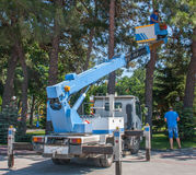 Gelendzhik, Russia - June 2016: aerial work platform lift or autotower outdoors Royalty Free Stock Photo