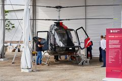 Russian helicopter VRT500 is demonstrated at the exhibition area on the Black Sea coast in the parking. royalty free stock photography