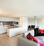 Geleverde flat, woonkamermening Royalty-vrije Stock Afbeelding