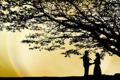 Geliebter unter dem Baum stockbilder