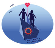 Geliefd paar op een schip royalty-vrije illustratie
