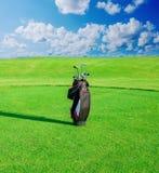 Gelieve te controleren mijn portefeuille meer sportieve illustraties Zak met golfclubs stock fotografie